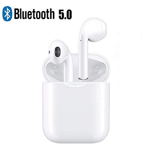 Bluetooth Earbuds, White Wireless Earbuds in Ear Headphones Noise Cancelling Headset Compatible with iPhone XR X 8 8p 7 7P 6 6P, Samsung Galaxy S9 Huawei & Other Apple Airpods Android/iPhone (White)