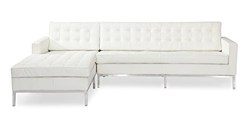Kardiel Florence 100% Full Premium Knoll Style Left Sectional Sofa, Cream White Leather