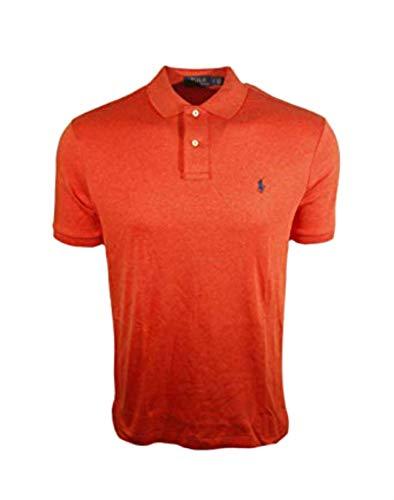 RALPH LAUREN Polo Mens Medium Fit Interlock Polo Shirt-Liquid Blue (Medium, Burnt Orange (Navy - Liquid Cotton Mens