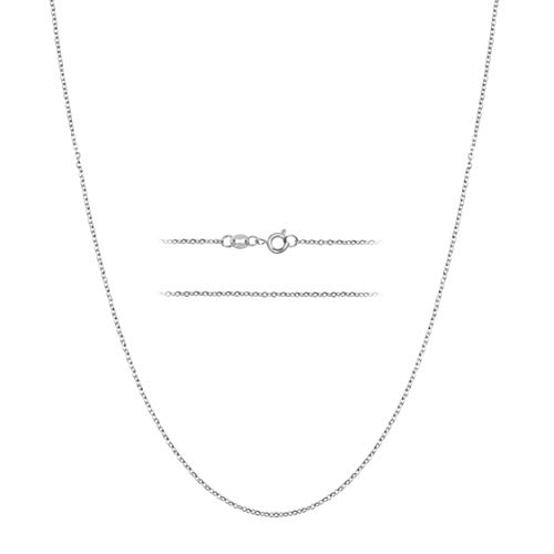 MAJU Designers Sterling Silver Over Stainless Steel 1.5mm Thin Cable Link Chain Necklace, 18 inch