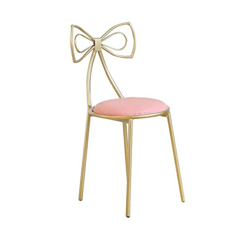 - WonLon Butterfly Bow Tie Vanity Chair,Nordic Garden Iron Barstool Chair Romantic Designed Makeup Leisure Stool Handmade seat for Kitchen Pub Breakfast Dining,Pink (45cm)