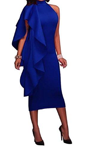 Vestito Blu donne Increspato Un Sleeveless Sexy Partito Bodycon Solido Passo Metà Coolred Elegante SWqwBpgqP