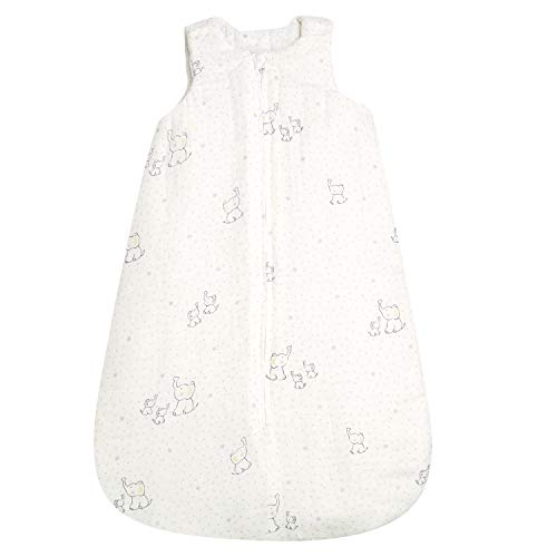 TILLYOU Thick Padded Sleeveless Sleeping Bag and Sack for Winter, TOG 3.5 Warm Baby Wearable Blanket for Infants Newborns Age 6-12 Months Medium, 100% Muslin Cotton with Poly Padding, White Elephant (Best Tog For Winter)