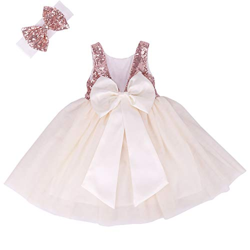 Cilucu Flower Girl Dress Baby Toddlers Sequin Dress Tutu Kids Party Dress Bridesmaid Wedding Gown Birthday Dress Rose Gold/Off White 4T-5T ()