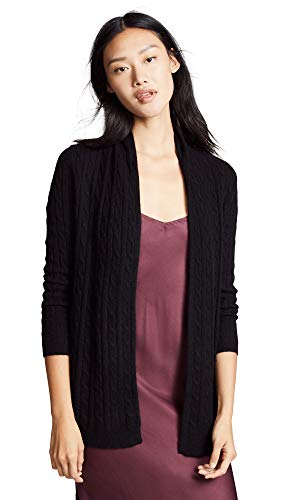 White Warren Cashmere Cardigan - White + Warren Women's Cable Cashmere Cardigan, Black, X-Small