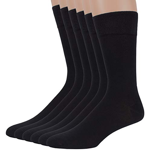 7BigStars Men's Classics Bamboo Trouser Dress Silk Crew Work Seamless Socks 6 pack of Plain 10-13 (Black)