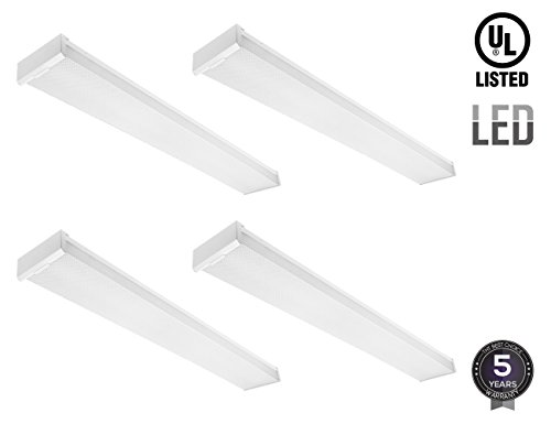 42W LED Wraparound, 4ft Low Profile Flush Mount Ceiling Light Fixture, 4400Lm, DLC & UL-listed, Surface Mount, 5000K Daylight, Pack of 4