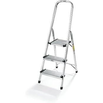 "Polder LDR-3500RM Ultralight 3-Step Stool, 52.5"" Tall, 24.5"" Top Step, Aluminum"