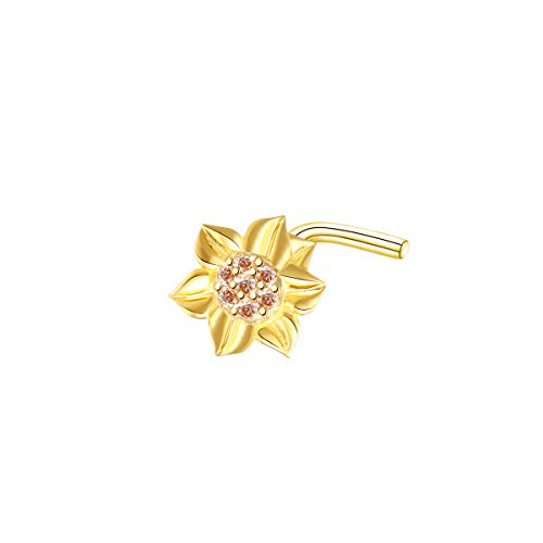 S925 Sterling Silver Sunflower with CZ L Shape Nose Stud