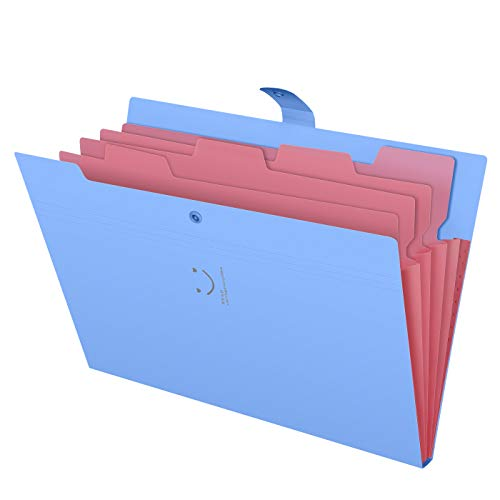 (Skydue Letter A4 Paper Expanding File Folder Pockets Accordion Document Organizer (Blue))