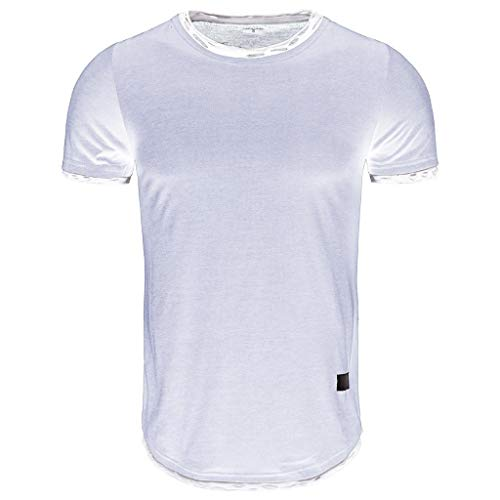 Amazon.com: Mens O-Neck Hole Stitching Short Sleeves, Sharemen Fashion Versatile Shirt Solid Color Casual Sports T-Shirt(Gray,XL): Clothing