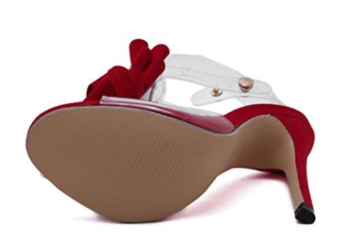 SCARPE YCMDM donne Classic trasparente Papillon Sandali con tacco VENDITA CALDA Nero ROSSO 39 36 35 38 37 40 , red , 39