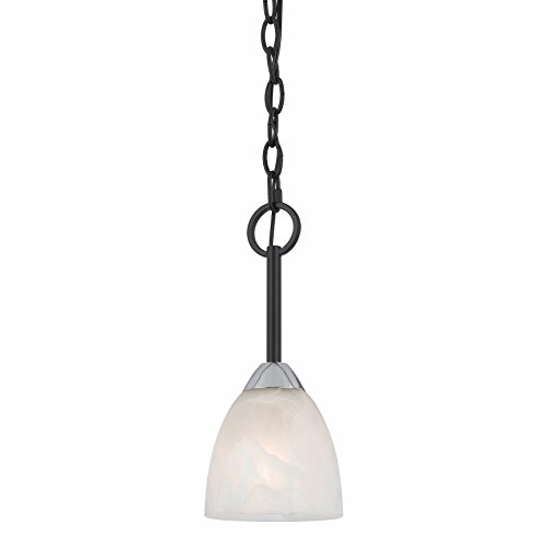 Lumenno Lighting 8002-02-05 Mini Pendant with White Swirl Alabaster Glass Shade, Bronze Finish