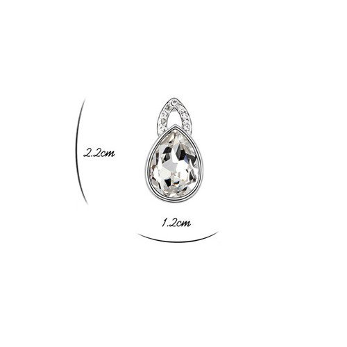 with a Gift Box Ideal Gift for Birthdays // Christmas // Wedding--White Model: X14025 Silver Crystal Diamond Accent Teardrop Water drop Earrings Studs Set for women teenage girls Made with SWAROVSKI Crystal