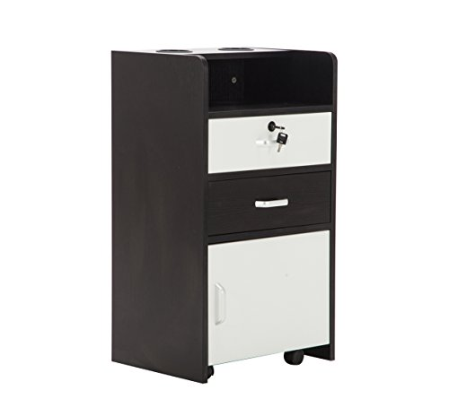Barberpub Locking Rolling Beauty Salon Trolley Cart Hair Dryer Holder Stylist Equipment Drawer (Black&White)