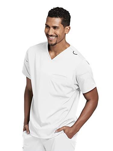 (Grey's Anatomy GRST009 Men's 3 Pocket Sleeve Welt V-Neck Scrub Top White XS)