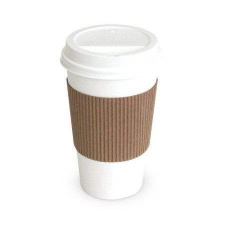 Paper Hot Cups with Lids and Cup Sleeves,16oz White Cups, Qty of 50