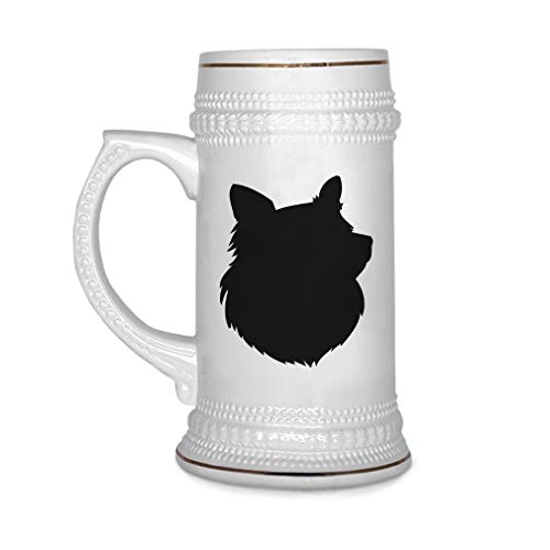 land Sheepdog Silhouette Ceramic Drinking Glasses Beer Gifts White 18 OZ Design Only ()