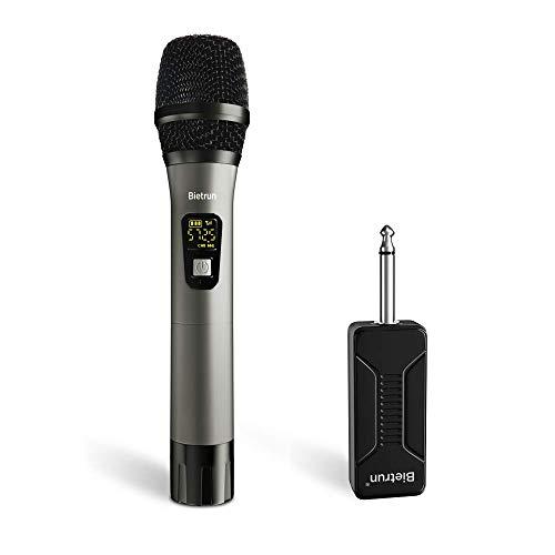 Wireless Microphone, UHF Metal Dynamic Handheld Karaoke Mic, Rechargeable Receiver (Work 6hs), 260ft Range, for Karaoke, Singing, Stage, Wedding, Speech, Karaoke Machine, Speaker, Amplifier, Mixer (Powered Condenser Microphone)