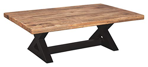 (Ashley Furniture Signature Design - Wesling Coffee Table - Cocktail Height - Rectangular - Brown Top with Black Base)