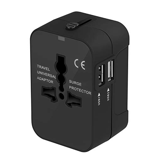 Travel Adapter, Upgraded Worldwide Travel Plug Adapter All in One Universal Plug Power Converter AC Adapter Wall Charger Dual USB Charging Ports USA EU UK AUS Cell Phone Laptop (Black) by walltronics