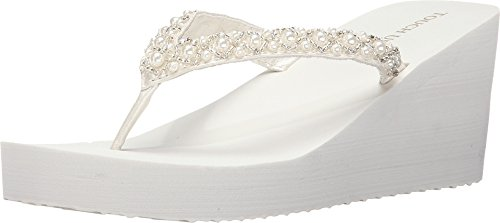 - Touch Ups Women's Shelly Thong Wedge Sandal,Diamond White Synthetic,US 5 M