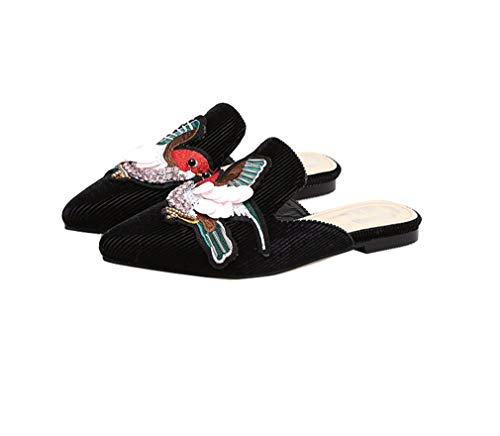 Chaussures Brodées Black YUCH Pointues Chaussures Femme Chaussures Paresseuses Xqw6Z8