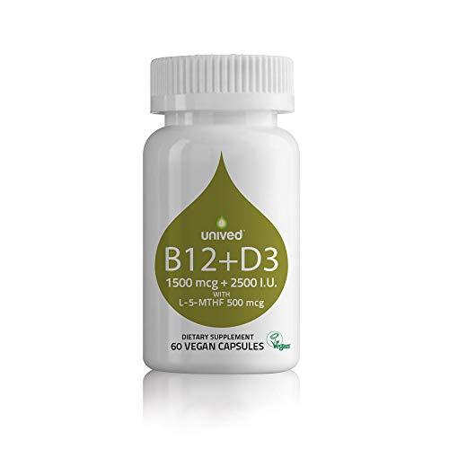 Unived Vegan B12 + D3, Vitamin B12 (1500mcg Methylcobalamin), Vitamin D3 (2500IU, Lichen), Vitamin B9 (500mcg 5-MTHF) & Alfalfa, Supports Immune Bone & Heart Health, Energy & Metabolism, 60 Vegan Caps