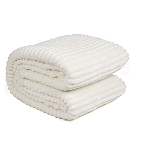 Ghome Luxury Fleece Sherpa Throw Blanket Warm Cozy Wavy Stripes,Double Layers 480GSM Flannel Blanket 47