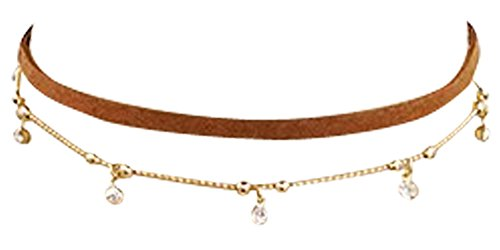 Tiny Crystal Suede Choker Necklace 16