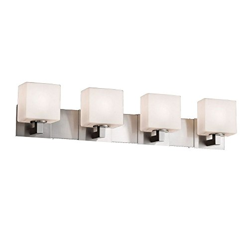 Justice Design Group Lighting FSN-8924-55-OPAL-NCKL Justice Design Group - Fusion - Modular 4-Light Bath bar - Rectangle - Brushed Nickel Finish with Opal Shade, - Light Modular Bath Bar