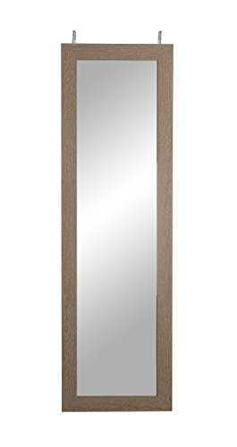 BrandtWorks, LLC BM36THINH Farmhouse Over the Door Full Length Mirror, 21.5 x 71, Brown Wood (Large Mirror Against Wall Lean)