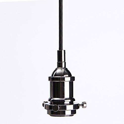 Braided Light Ceiling (Kamas Lamp Base E27 Vintage Retro Ceiling Rose Lamp Loft Metal Braided Fabric Flex Pendant Light Fitting Socket Holder Light Hanging - (Color: Black))