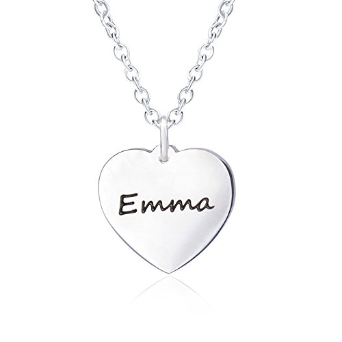 Bala Name Necklace for Women Personalized with Silver Heart Necklaces Girlfriend Script Pendant Carved Engraved Emma