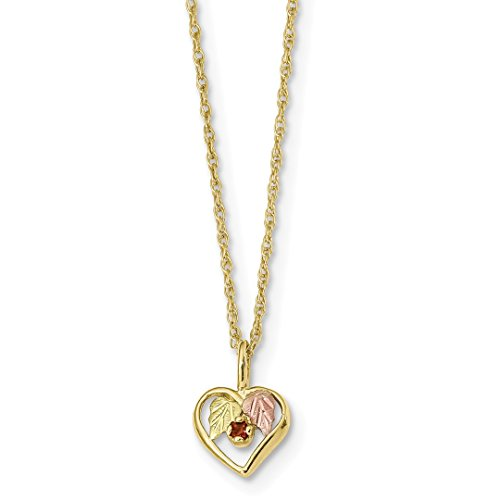 Ice Carats 10Kt Tri Color Black Hills Gold Heart Red Garnet Chain Necklace Pendant Charm Fine Jewelry Ideal Gifts For Women Gift Set From Heart