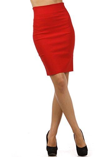 TrendzArt Business Casual Bow Back High Waist Pencil Skirt (RD,2XL)