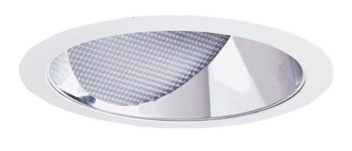 Juno Lighting Group 629C-WH Aculux 6IN Lensed Angle-Cut Wall Wash Recessed Trim, Clear Alzak Reflector with White Trim Ring