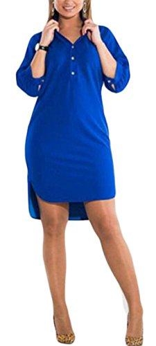 Donne Di Over Manicotto Del Giù Size Casual Solido Camicia Colore Irregolare Pulsante Blu Abito Mini Mezzo Jaycargogo dU1wYnvqd