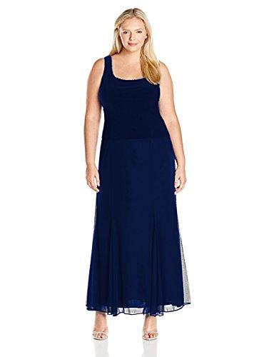 Alex Evenings Women's Plus-Size Jersey Mesh Mock 2 Piece with Rhinestone On Jacket and Dress, Navy, 20W