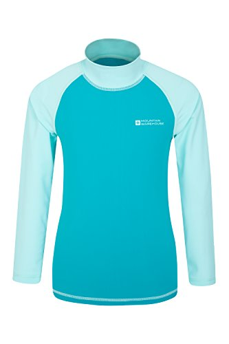 Mountain Warehouse Kids Rash Vest - UV Protection Rash Guard Teal 11-12 years
