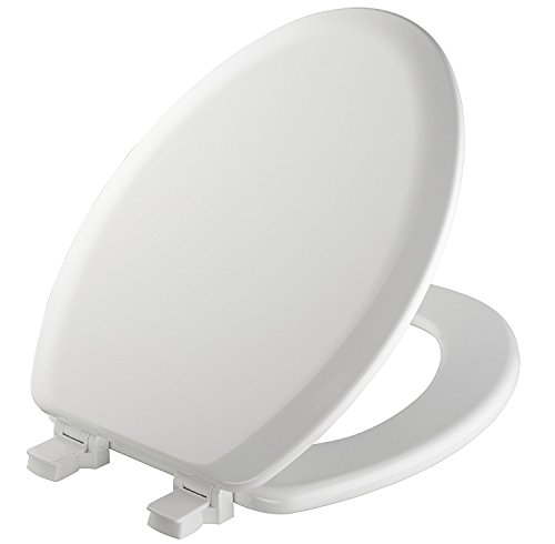 MAYFAIR Toilet Seat will Never Loosen and Easily Remove, ELONGATED, Durable Enameled Wood, White, 141EC 000
