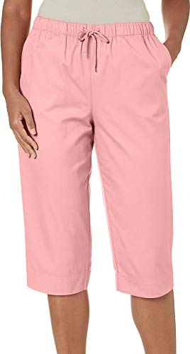 Coral Bay Petite Drawstring Twill Capris X-Large Petite Conch Shell Pink