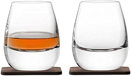 LSA Whisky Islay Internacional Vaso con Posavasos de Nogal, Cristal, Transparente, 250ml, Juego de 2