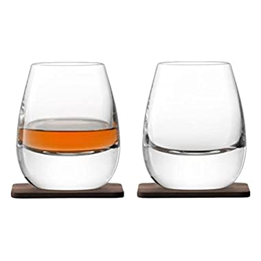 LSA International Whisky Islay Tumbler & Coaster (2 Pack), 8.5 fl. oz., Clear/Walnut