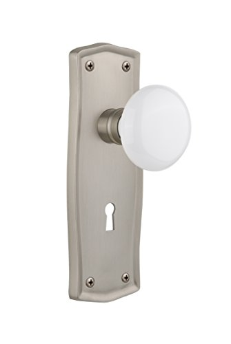 (Nostalgic Warehouse Prairie Plate with Keyhole White Porcelain Knob, Single Dummy, Satin Nickel)