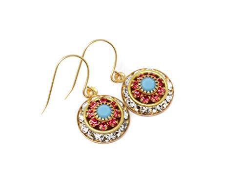Vintage Swarovski Crystal Flower Earrings - Clear, Coral and - Gorgeous Clear Rhinestone Vintage