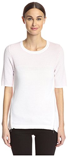 Cullen Women's Mesh Yoke Sweater, White Combo, S Cullen Cotton Sweater