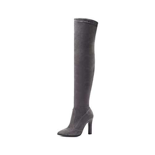 wetkiss Fashion Trend Women Stretch Over The Knee Boots high Heel Thigh high Boots Shoes Woman Dark Gray Ym8GNMjYW