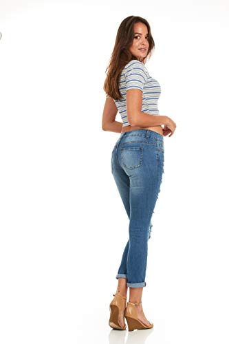 Cover Girl Skinny Ripped Jeans for Women Distressed Blue, Electric, 15 by Cover Girl (Image #4)'