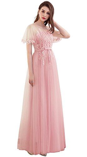 Langes kleid rosa spitze